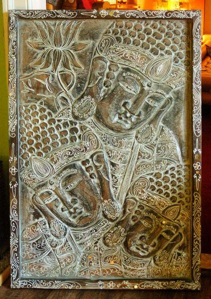 Buddha-Relief, Holzschnitzarbeit