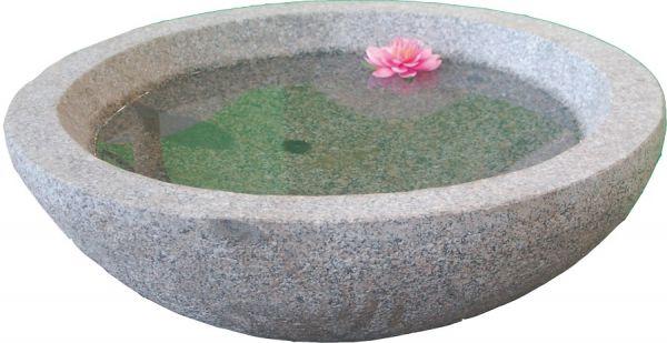 Lotusschale aus Granit, außen gestockt 75 cm