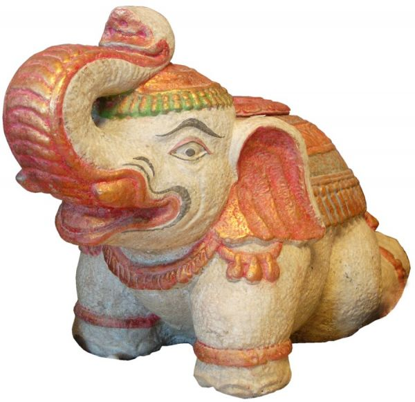Elefant, bemalter Steinguss