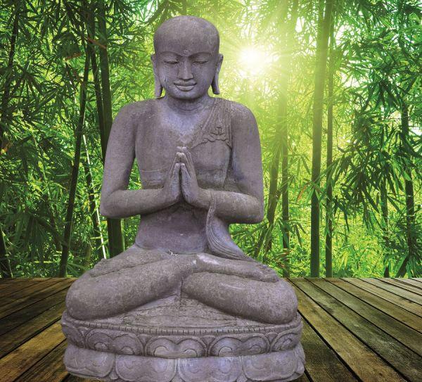 Sitzender Mönch in Begrüßungshaltung, h 110 cm