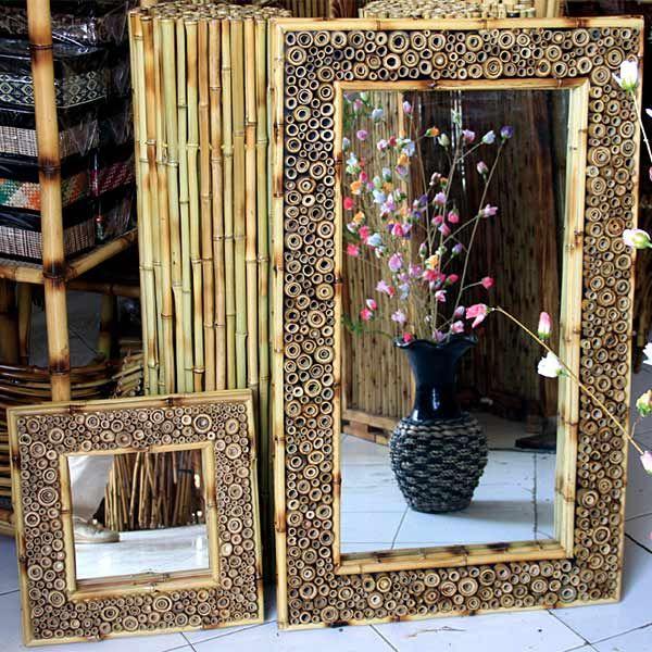 Spiegel mit Halmabschnitten