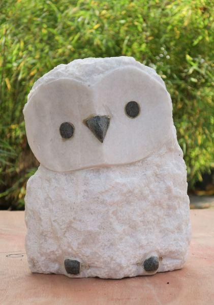 Eule aus Granit oder Marmor, H 27 cm