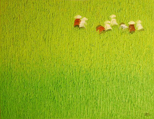 Im Reisfeld, hellgrün, 70 x 90 cm