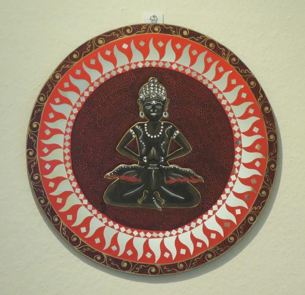 Spiegel mit Buddhamotiv, Ø 60 cm
