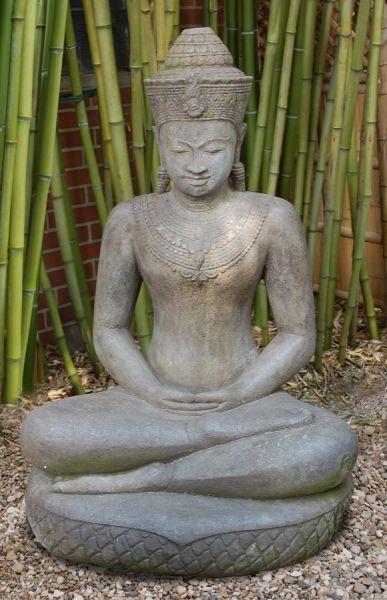 Khmer Buddha auf Schlangenthron, h 120 cm