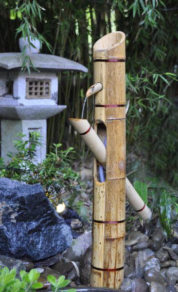 Bambus Wasserspiel Shishi Odoshi im Schaugarten in Lehrte Steinwedel