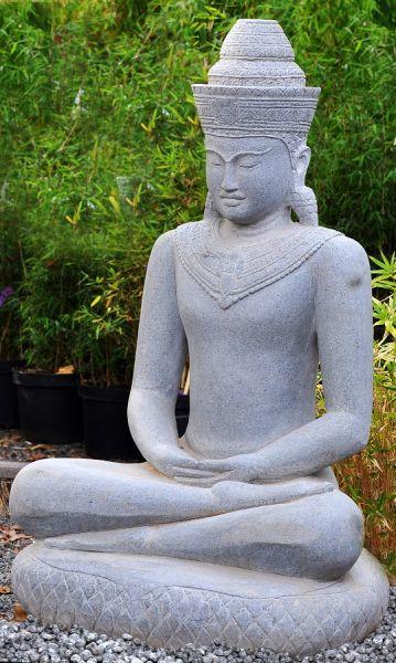 Khmer Buddha auf Schlangenthron, h 100 cm