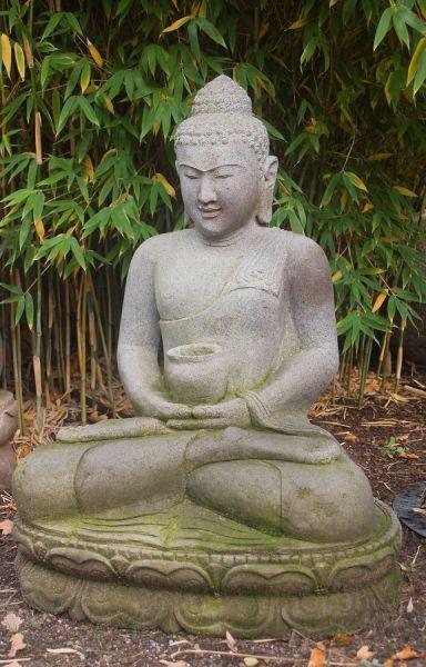 sitzender Buddha mit Almosenschale, h 80 cm