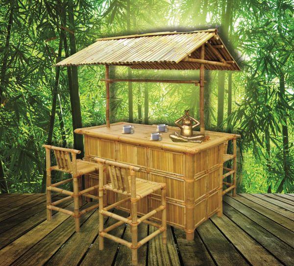 Bambusbar Mit 4 Stühlen Gartenmöbel Bambusmöbel Bambus