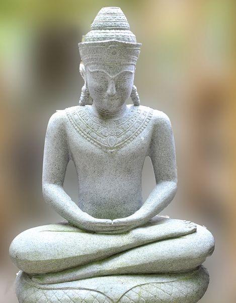 Khmer Buddha auf Schlangenthron, h 75 cm