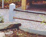 Zaunpfahl aus Granit, Höhe 45 cm, für 2 Querhölzer